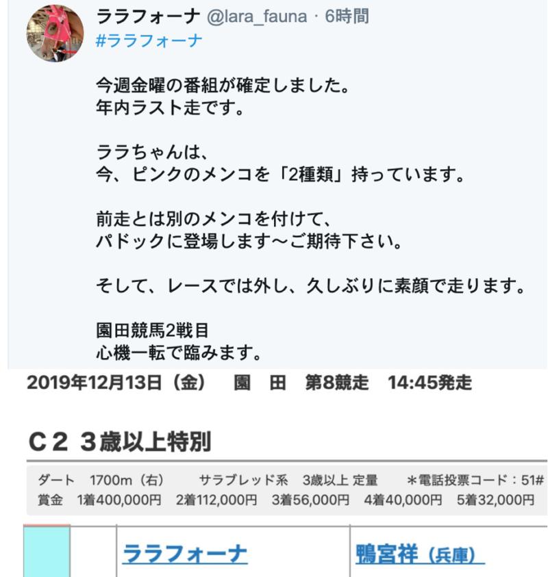 ララフォーナ 園田競馬 高木毅